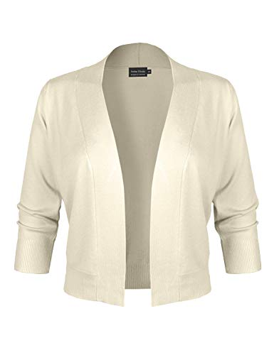 Sweater White Cardigan Off (Instar Mode Women's Classic Solid 3/4 Sleeve Open Front Cropped Cardigan [S-XL] Ivory M)