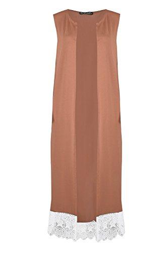 Oops Outlet - Femmes - Cardigan long extensible sans manches bordure dentelle avant ouvert grande taille - Chameau, Grande taille (EU 44/46)