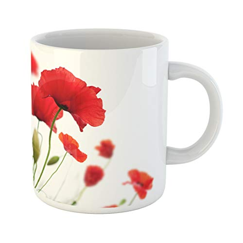 Emvency Funny Coffee Mug Green Flower Many Red Poppies White Angle of Page Poppy Field Wild Spring Nature 11 Oz Ceramic Coffee Mug Tea Cup Best Gift Or Souvenir