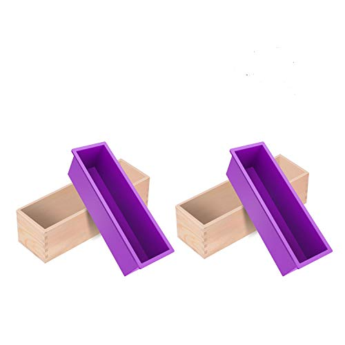 Silicone soap Molds -2 PCS 40 oz Flexible Rectangular Soap Loaf Mold kit Comes with Wood Box for CP and MP Soaps Making Supplies by ZYTJ