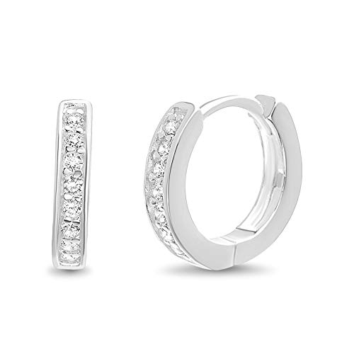MIA SARINE Sterling Silver Small Channel Set Cubic Zirconia Huggie Hoop Earrings for Women (White)