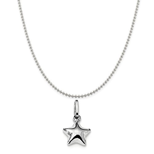 Sterling Silver Rhodium Plated Polished Puffed Star Charm on a Sterling Silver Ball Chain Necklace 16