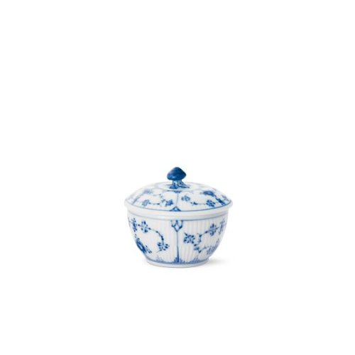 Fluted Sugar Bowl - Blue Fluted Plain 5.25 oz. Sugar Bowl with Lid