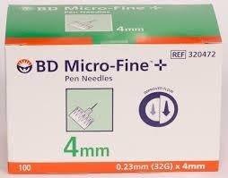 Bd Micro Fine Plus 32g X 4mm Pen Needles 100 Count by Bd Micro-fine Plus
