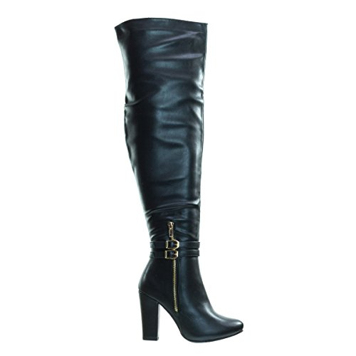 Top Moda Born1 Black Block Heel Over-The-Knee Dress Boots w Double Buckle -7 by Top Moda