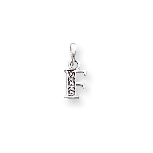 14k White Gold Polished .01ct Diamond Initial F Charm Charms 14k 0.01 Ct Diamond