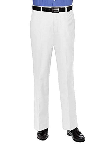 RGM Dress Pants for Men Slim fit Modern Flat-Front - Formal Business Wrinkle Free No Iron White 34 Medium by RGM