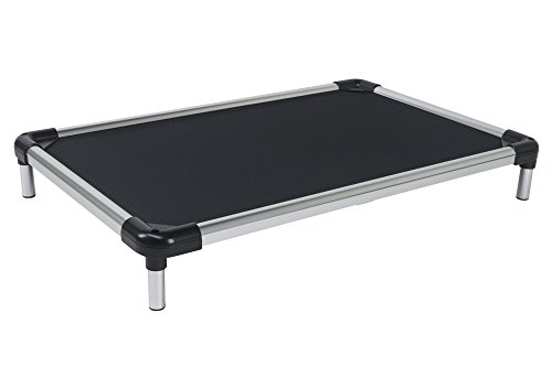 "K9 Ballistics Indestructible Elevated Raised Metal Frame Dog Bed - Washable, Durable and Waterproof Dog Cot - Large Dog Bed, 25""x40"", Black"
