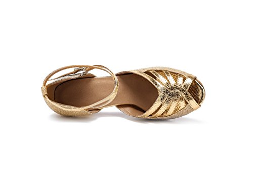 Miyoopark Filles Femmes Stiletto Haut Talon Paillettes Tango Chaussures De Danse Latine Soir Sandales Or-8.5cm Talon