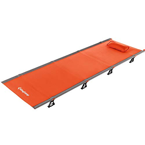 KingCamp Ultralight Compact Folding Camping Cot Bed, 4.9 Pounds (Orange)