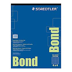 Staedtler(r) Bond Paper, 17in. X 22in., White with Blue Grid, 50 Sheets