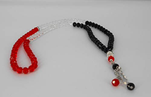 Islamic Crystal Souvenir Yemen Flag Color, Yemen Prayer Beads Masbaha, Tasbeeh, Car Hanging, Wedding Favors, Muslim Islamic 99 Worry Prayer Beads