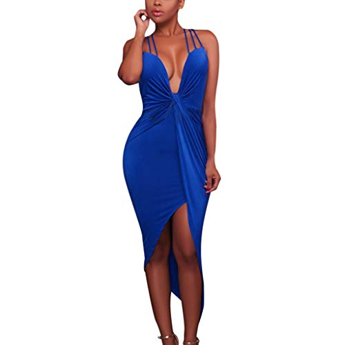 Women Summer Dress,Qingell Pure Color Sleeveless Tight Fitting Bandage V Collar Dress Club Party Cocktail Dress Blue