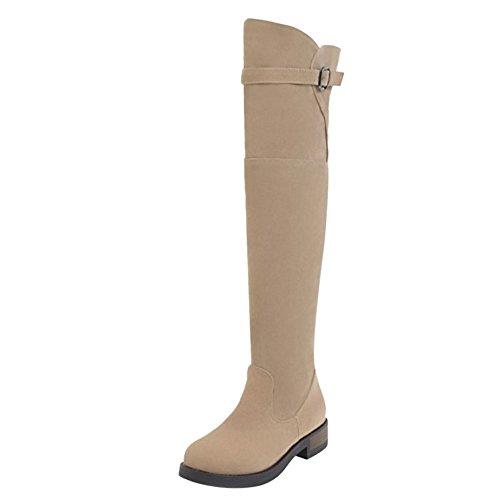 COOLCEPT Women Boots Pull On Beige F2ql1