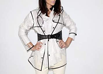 Sfoggia il tuo Outfit Migliore anche sotto la Pioggia Ducomi/® Mademoiselle Mantella Antipioggia Impermeabile Trasparente da Donna con Cappuccio Short, Black