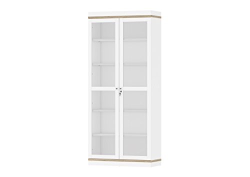 Tvilum 9217549ak Aberdeen 2 Door China Cabinet, White/Oak Structure Classic China Cabinet