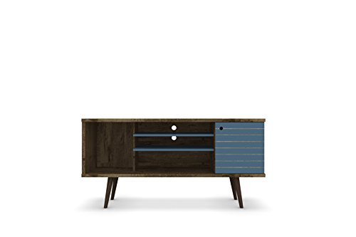 - Manhattan Comfort Liberty Collection Mid Century Modern TV Stand With One Cabinet and Three Open Shelves and One Cubby With Splayed Legs, Wood/Blue