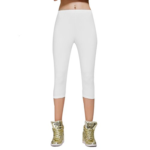 Crop Stretch Leggings (DIAMONDKIT Stretch Cotton Capri Crop Leggings Tights (S, White))