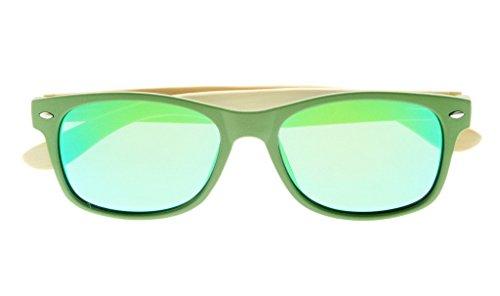 Eyekepper Lunettes de soleil Polarisee femme 100% UV Protection Qualite Bamboo classique charniere a ressort Vert