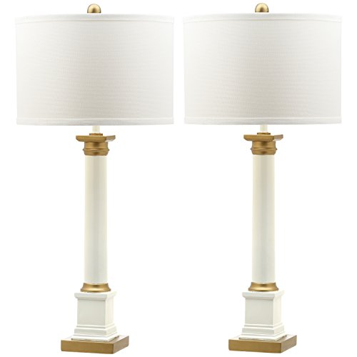 Two Collection Light Gold White (Safavieh Lighting Collection Henley White and Gold 32.5-inch Table Lamp (Set of 2))
