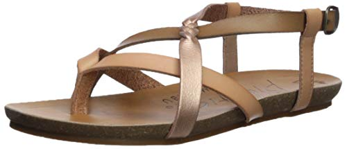 (Blowfish Women's Granola-B Flat Sandal Blond/Wheat/Pearl Rosegold 6.5 Medium US)
