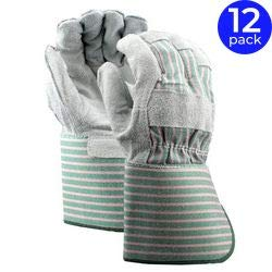 - Stauffer Leather Palm Gloves with Gauntlet Cuff, Split Shoulder   Cotton Back Material, Gray/Green Color, Fabric Lining, Wing Thumb - (Pack of 12)