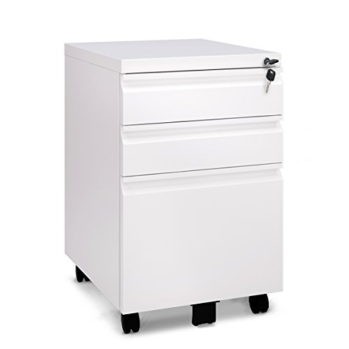 3 Drawer Metal White File Cabinet with Lock (15.7″ W x 19.7″ D x 24.6″ H) Review