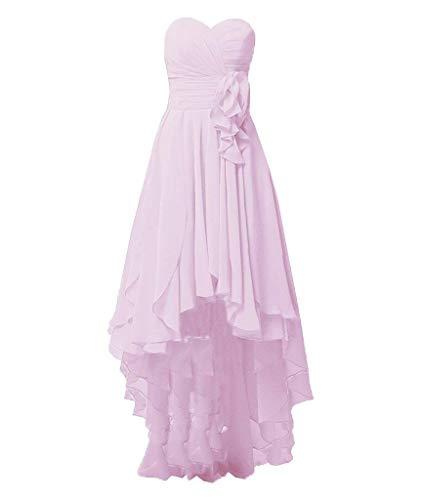 Robes De Demoiselle D'honneur Asbridal Longue Robe De Bal En Mousseline De Soie Robe Salut Partie Basse Backless Rose
