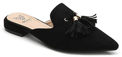 Beast Fashion Gem-01 Suede Pointed Toe Slip On Tassels Flat Loafer Mules (7.5, Black)