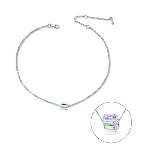 """(Colorful Magic Cube Crystal 925 Sterling Silver Anklet for Women Teens Girls, Adjustable 10"""" Silver Chain Anklet with Swarovski Cubic Square Crystal)"""