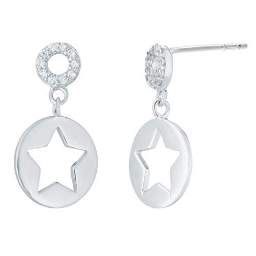 Lavari - Sterling Silver Cut Out Star Cubic Zirconium Drop Earrings