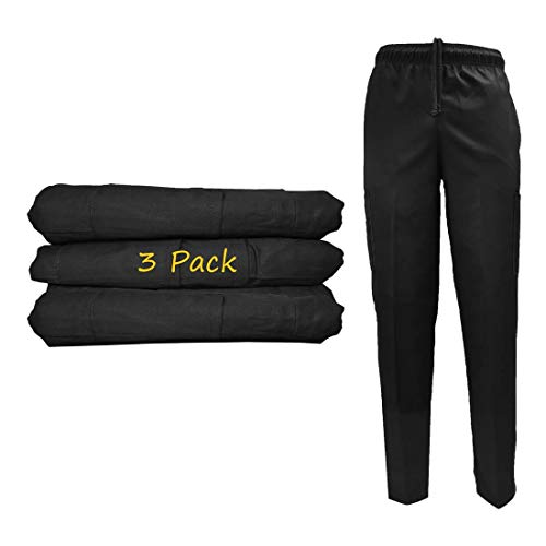 Natural Uniforms Classic Chef Pants (Large, Black Pack of 3)