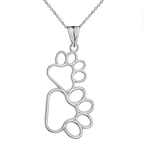 - Dainty Sterling Silver Vertical Double Dog Paw Print Outline Pendant Necklace, 16