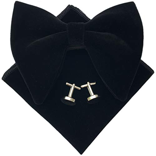 (Mens Pre-Tied Oversized Bow Tie Tuxedo Velvet Bowtie Cufflinks Hankie Combo Sets (Black), 4.7 inches x 4.1 inches)
