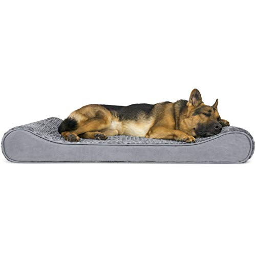 FurHaven Pet Dog Bed | Cooling Gel Foam Ultra Plush Luxe Lounger Pet Bed for Dogs & Cats, Gray, Jumbo