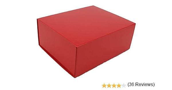 Caja de regalo magnética, roja, 21 cm x 17 cm x 9 cm: Amazon.es: Oficina y papelería