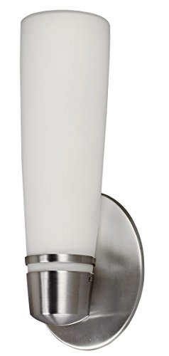 (Lighting by AFX ARW118SNEC Aria 18-Watt Outdoor Sconce, Satin Nickel Finish with Opal White Glass)