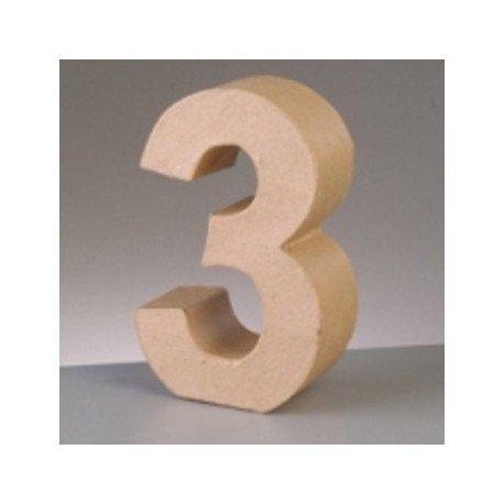 Efco Cifra de papel mach/é Chiffre 3 17,5 cm de alto, 3D, cart/ón, del 0 al 9