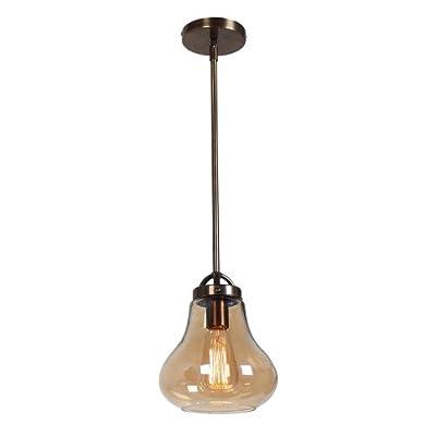 "Flux - 1-Light 8""dia Pendant - Dark Bronze Finish - Amber Glass Shade"