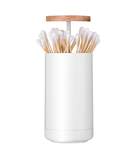 Q Tip Holder Dispenser, Bathroom Automatic Pop up Cotton Swab Holder, Toothpick Storage Organizer Container Wooden Lid