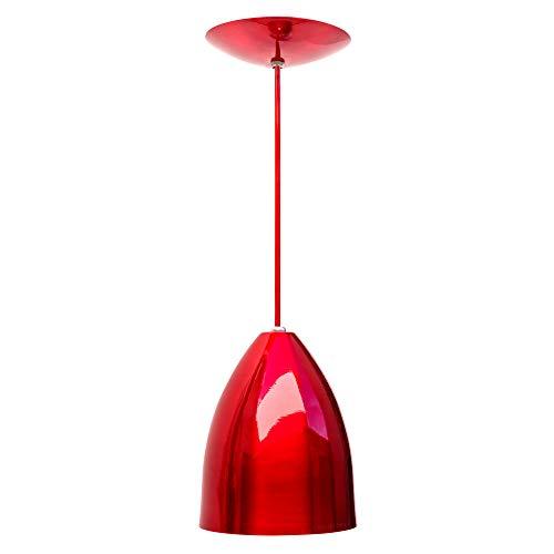 Combo Kit de 2 Pendentes Luminárias Soft Cone Alumínio 18cm Vermelho e Branco E27 110V/220V (Bivolt) Teto Interno Quarto Sala Cozinha