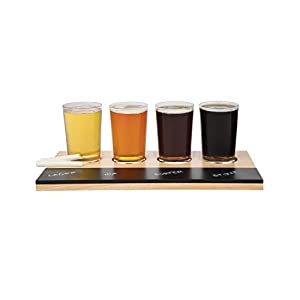 Beer Tasting Flight Sampler Set, 4-6oz Pilsner Craft Brew Glasses w Paddle and Chalkboard