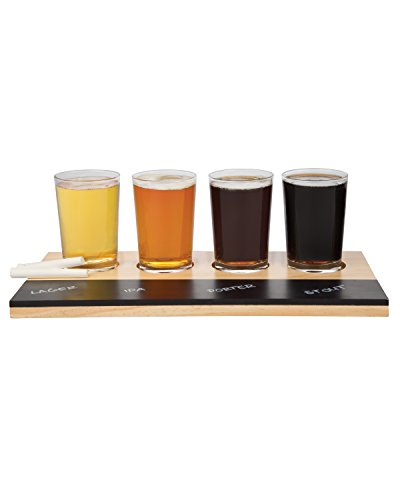 Beer Tasting Flight Sampler Set, 4 - 6oz Pilsner Craft Brew Glasses w Paddle and Chalkboard (Beer Tasting Flight Set)