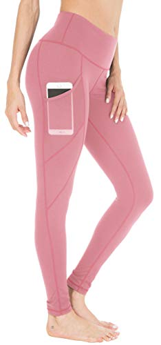 Queenie Ke Women Yoga Leggings Power Flex Mesh High Waist 3 Phone Pocket Gym Running Tights Size XS Color Begonia Pink Side Pockets ()