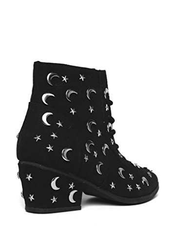 Y.R.U. AURA QOZMIQ Stars and Moon Studded Ankle Boots 6BgRnNM