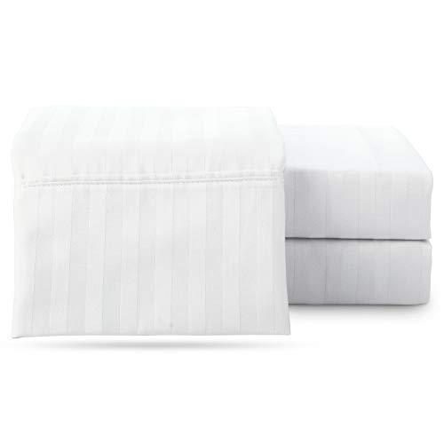 ARlinen Split Head Bed Sheet Set Cal King Size Sheets Set 4 PCs,White Stripe, 15