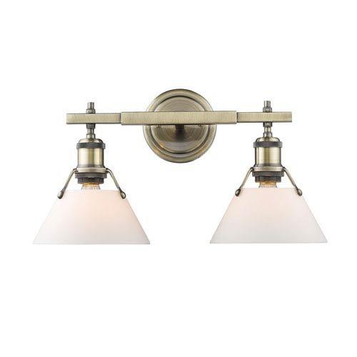 Golden Lighting 3306-BA2 AB-OP Two Light Bath Vanity Gold