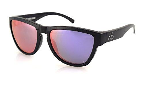 Filthy Anglers Wedge Polarized Wayfarer Sunglass Black Frame, Polarized w/ Purple Mirror- Made in USA - Fishing Made Usa Sunglasses In