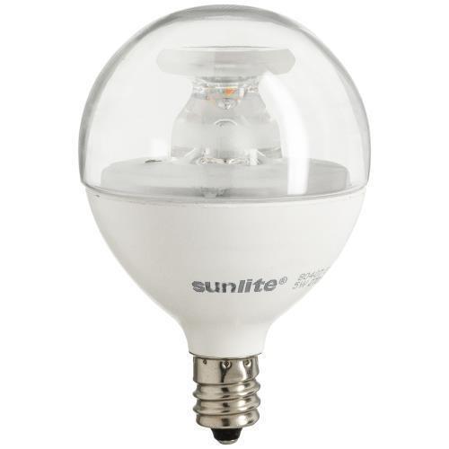 Sunlite G16.5/5W/E12/CL/DIM/ES/27K/CD LED 40W Equivalent G16.5 Globe 5W 120V Candelabra E12 Base Clear Dimmable Light Bulb, Warm White
