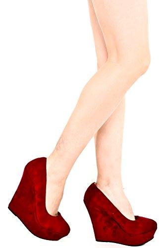 Juicy Heel Platform Sandal (FOREVER LINK VELVET PLATFORM WEDGE PUMP 5 burgundy)